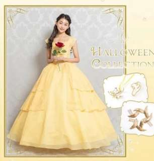 Disney Belle Ball Gown Yellow Dress Emma Watson Live action beauty and the beast wedding bridal dance cosplay costume adult women