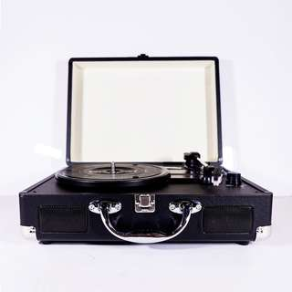Retro Briefcase Vinyl Record Player (Turntable) - Black
