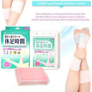 Lion japan foot relief patch sheet for legs