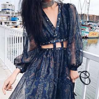 Bohemian dark blue long dress ( can be separated )