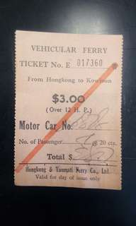 60 年代汽車渡輪車票/船票,一對兩張。