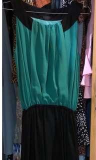 Long dress green black