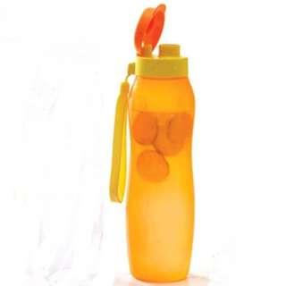Tupperware New Slim Eco Bottle (1) 1L with Strap - Orange