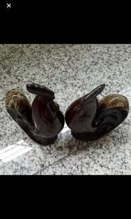 A Pair Of Ceramic Rooster / Width : 10cm Height  : 14cm