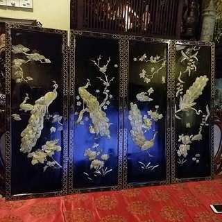 Chinese Vintage Mother Of Pearls Peacock Seahells 4 Pcs Panel