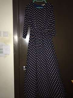 Poplook Polka Dot Long Dress navy blue and peach dot