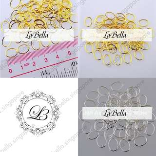 🚚 3D Metal Nail Art Decoration Accessories Gold Silver Oval Frame Loop Nail Styling