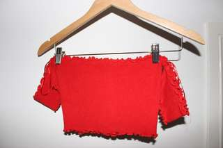 Red Off the Shoulder Crop Top - Knit Material