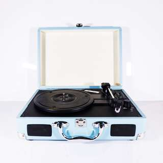 Retro Briefcase Vinyl Record Player (Turntable) - Blue