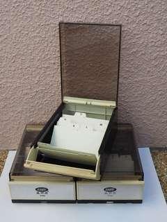 Business card box - vintage holder / folder / case