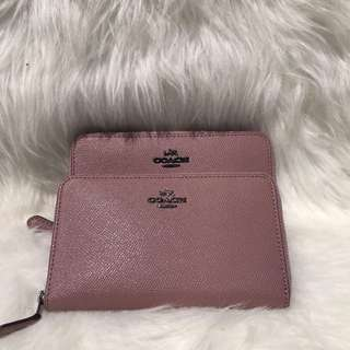 Coach Md Zip Around Wallet in Dusty Rose