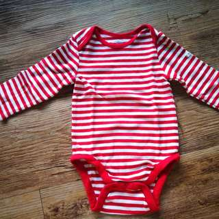 Baby Gap Girl Red & White Stripe Romper