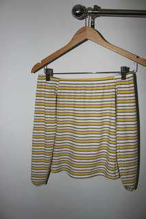 Off the Shoulder Yellow/White/Light Pink Stripped Long Sleeve