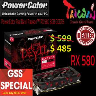 POWERCOLOR RX580 RED DEVIL RADEON™ 8GB DDR5.