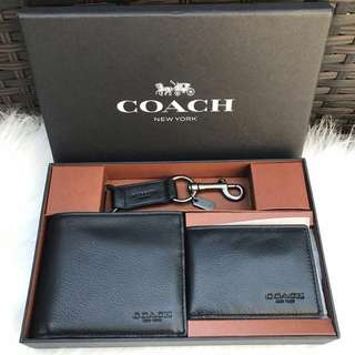 Coach Men's ID Wallet Gift Set in Black