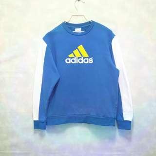 三件7折🎊 Adidas 大學T 長T 棉T 藍白 大logo 極稀有 老品 復古 古著 Vintage