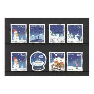 JAPAN 2017 WINTER GREETINGS (RABBITS, STAR, SNOWMAN) 82 YEN COMP. SET OF 8 STAMPS IN FINE USED CONDITION