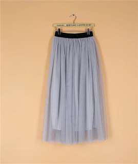 日本灰紫藍色紗裙長裙半身裙 Grey dress