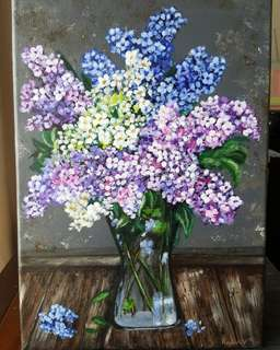 Lillac flower canvas painting