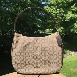 Coach Zip Shoulder Bag in Signature Khaki Brown