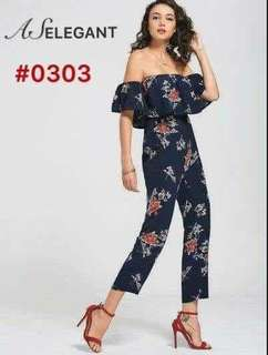 Blue Off Shoulder floral Jumpsuit