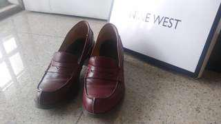 PL Maroon Ninewest Leather Heels