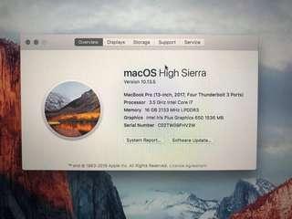 Macbook Pro 13 inch TOP spec 2017