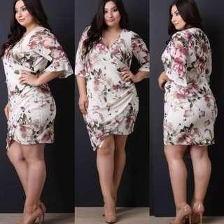 plus size floral overlap style minidress
