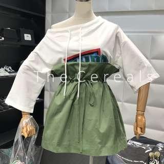 TC2495 Korea 2 Pieces Boy Friend Shirt + High Waist Drawstring Skirt (White,Beige)