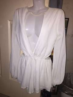 NEW white long sleeve cut out choker playsuit