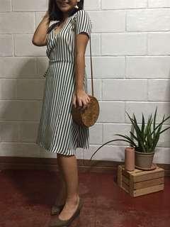 Striped Wrap Around Midi Dress