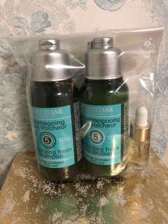 L'occitane Travel Set - revitalising fresh shampoo & conditioner (75ml each) and youth oil (4ml)