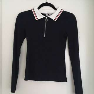 Navy zip long sleeve top