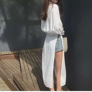 Miss vivi girl ~  滑滑柔軟襯衫洋裝 保護你不曬傷 白/F