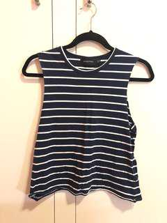 Minkpink Navy Striped Top