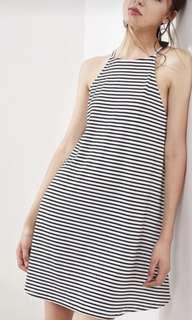 Black and white halter stripe cami shift dress