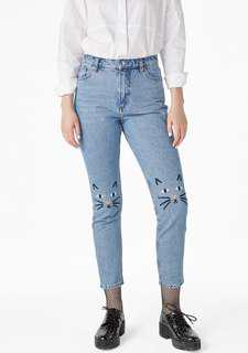 Authentic Monki Embroidered Cat Jeans