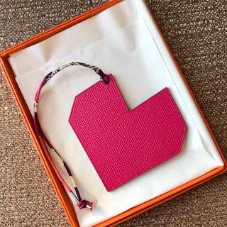 全新 Hermes Petit h 雙面 Pink Blue Heart Leather Bag Charm