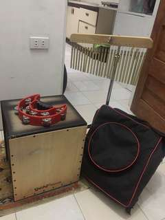 foldable cajon with bag and chimes with stand  and tambourine  for sale for 5500 package...