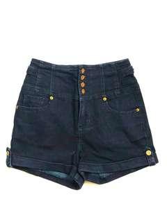 Topshop Navy blue high waisted denim jean shorts