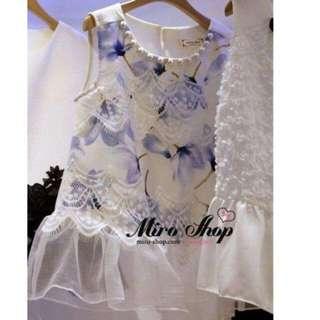 🚚 韓版水藍色蕾絲上衣