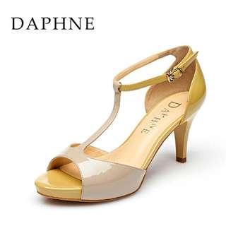 🚚 Daphne/達芙妮春夏款高跟撞色魚嘴包跟涼鞋全新清倉 挑戰最低價 任選3雙免運費