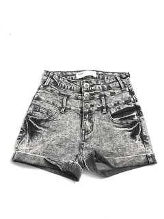 Acid wash grey high waisted denim jean shorts