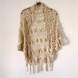 Macrame Knitted One Size Cream Bohemian Top