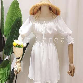 TC2496 Korea Shoulder Off 2 Ways Dress (White,Black)