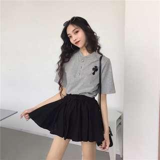 🚚 韓版氣質女裝學院風短袖襯衫上衣百褶裙短裙褲裙