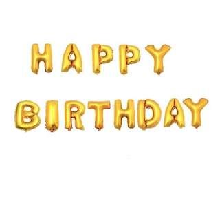 Happy Birthday Balloon (Gold)
