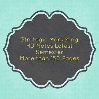 RMIT UNIVERSITY MKTG1275 Strategic Marketing Notes
