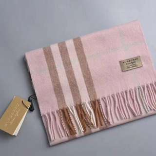 Burberry Wool Cashmere Pink Scarf
