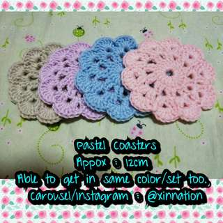 Handmade Crochet Coasters in Pastel Color (4/set)